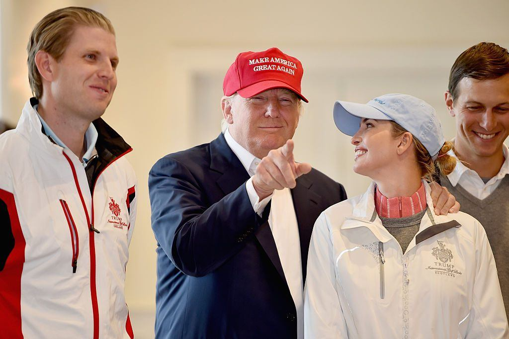 Donald Trump with Eric Trump and Ivanka Trump during his presidential campaign