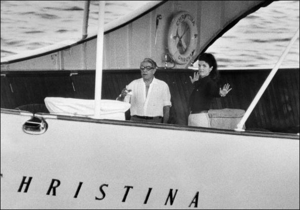 Aristote Onassis and his wife Jacqueline Onassis-Kennedy leave Las Palmas in route to La Martinique on board of the yatch Christina, 18 March 1969.