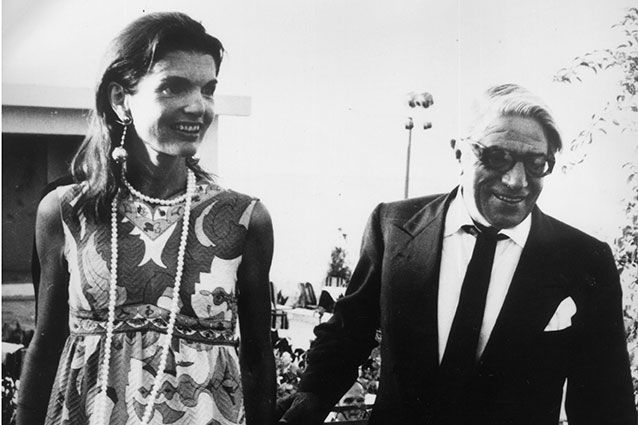 Jackie Onassis and her husband Aristotle Onassis leave an Athens nightclub at 7am after celebrating Jackie's 40th birthday