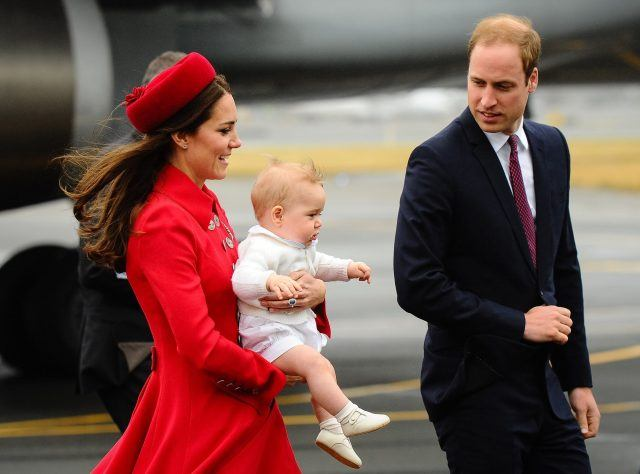 Kate Middleton, Prince William, and Prince George arrive for a three-week tour of New Zealand and Australia