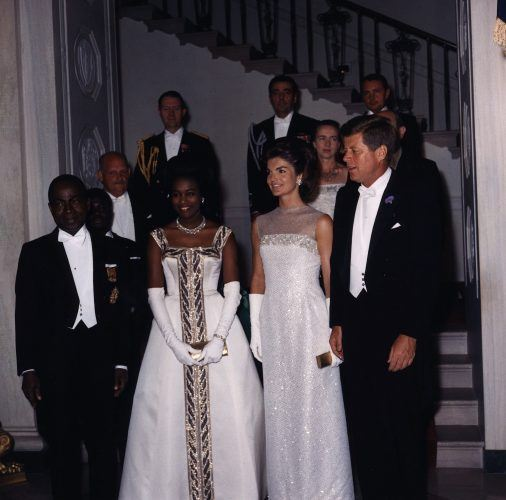 The President and Mrs. Kennedy attend a dinner May 5, 1962 for President Houphuet-Boigny, of the Republic of Ivory Coast, Africa at the White House in Washington DC