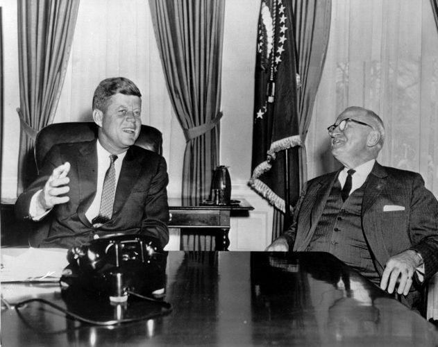 WASHINGTON, : US President John Fitzgerald Kennedy (L) meets in January 1961 at the White-House, Washington, D.C. with former (April 1945) US President Harry S. Truman (1884-1972)