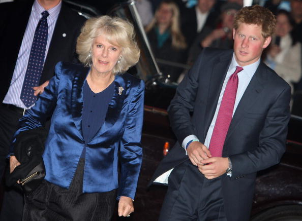 Camilla, Duchess of Cornwall and Prince Harry arrive at a Gala Performance of 'We Are Most Amused' at the Wimbledon Theatre on November 12, 2008 in London, England