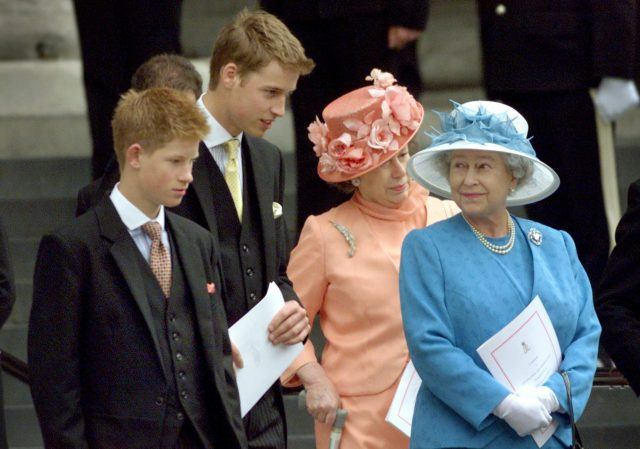 Britain's Queen Elizabeth (R) waits on the steps of St. Paul's Cathedral with her grandsons Prince Harry (L), Prince William (2nd L) and Princess Margaret (2nd R) after attending a national service of thanksgiving in celebration of The Queen Mother's forthcoming 100th birthday in London
