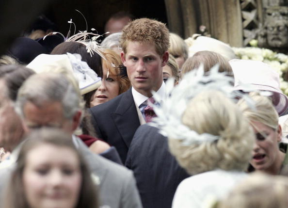 Prince Harry leaves the wedding of The Duchess of Cornwall's son, Tom Parker Bowles, to magazine executive Sara Buys in 2005
