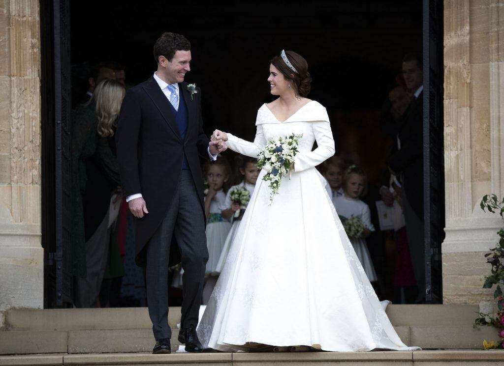 Princess Eugenie and Jack Brooksbank leave St George's Chapel in Windsor Castle following their wedding