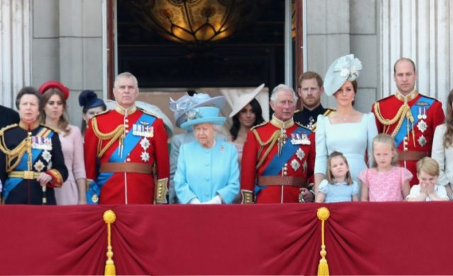 Princess Anne, Princess Beatrice, Lady Louise Windsor, Prince Andrew, Queen Elizabeth II, Duchess of Sussex, Prince Charles, Duke of Sussex, Duchess of Cambridge, Duke of Cambridge, Princess Charlotte, Savannah Phillips, Prince George, and Isla Phillips