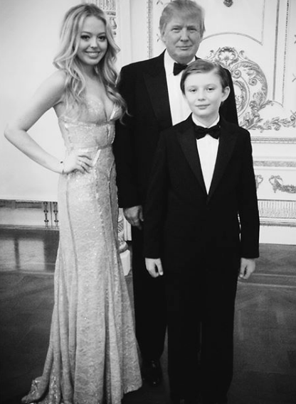 Tiffany Trump with Donald Trump and Barron Trump