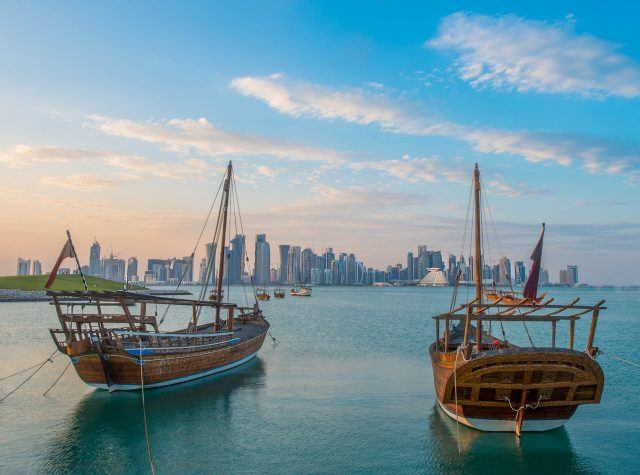 Wooden dhows in the bay at Doha, Qatar