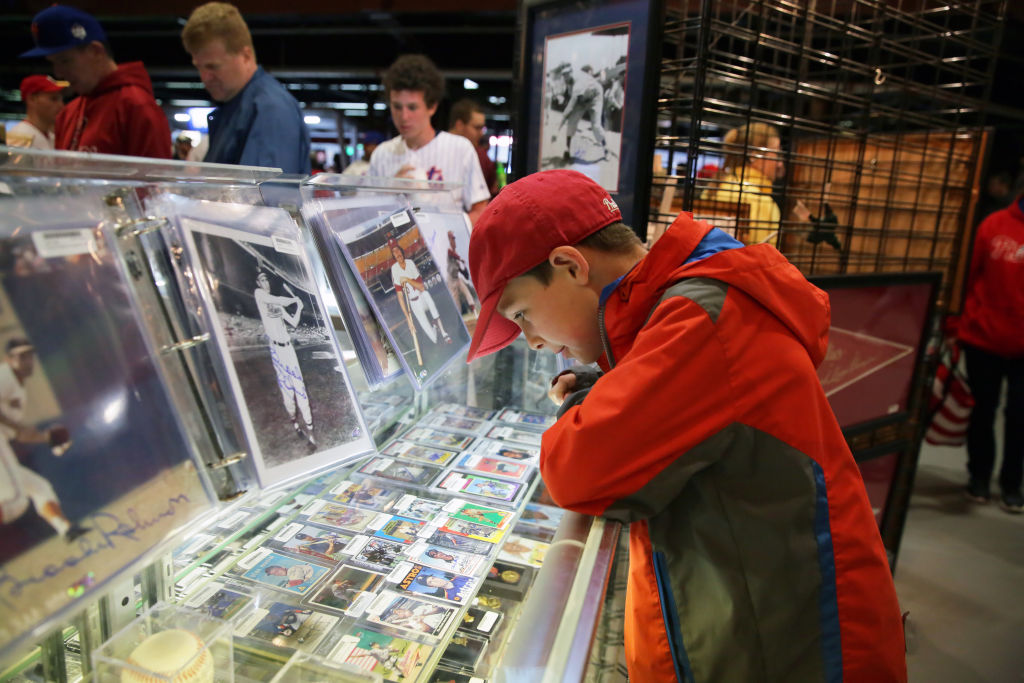 Boy baseball fan looking at sports trading cards