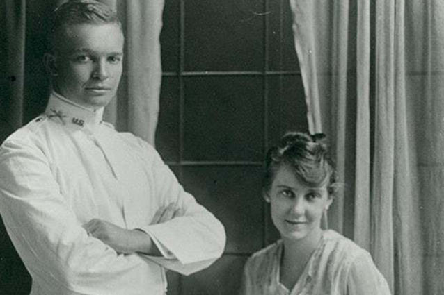Dwight and Mamie Eisenhower on their wedding day in 1916