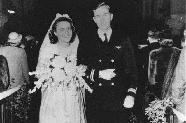 GeorgeH.W. and Barbara Bush on their wedding day in 1945