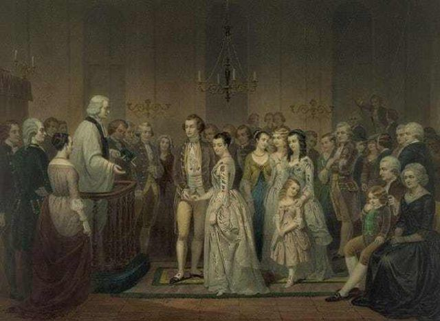George and Martha Washington at their wedding in 1759