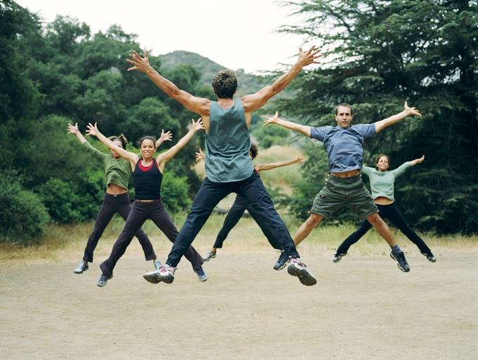 group exercise, jumping jacks