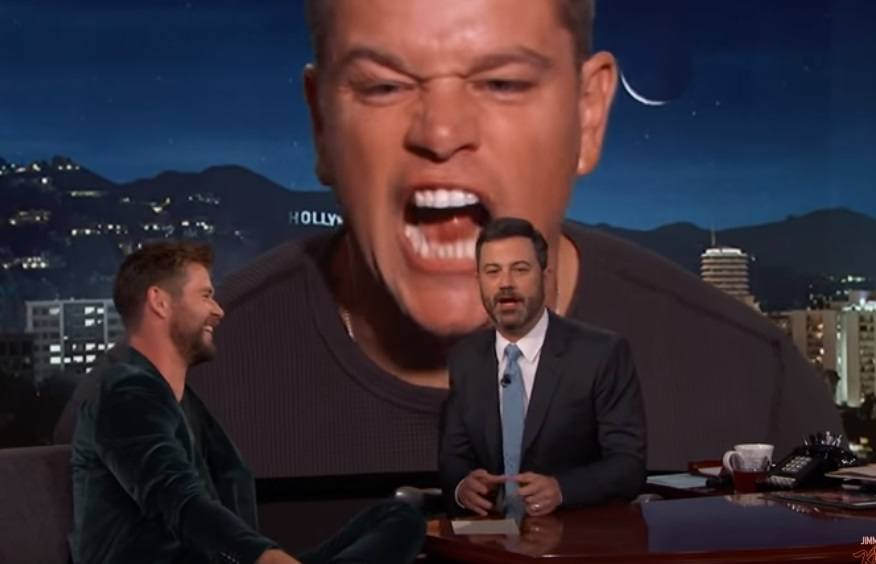 Matt Damon barges in on Chris Hemsworth's interview with Jimmy Kimmel