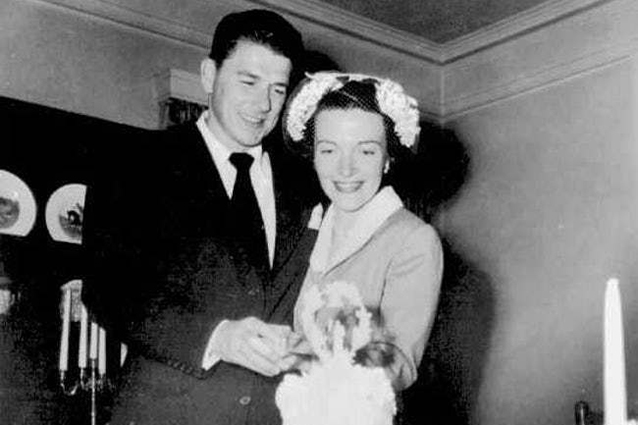 Ronald and Nancy Reagan at their wedding in 1952