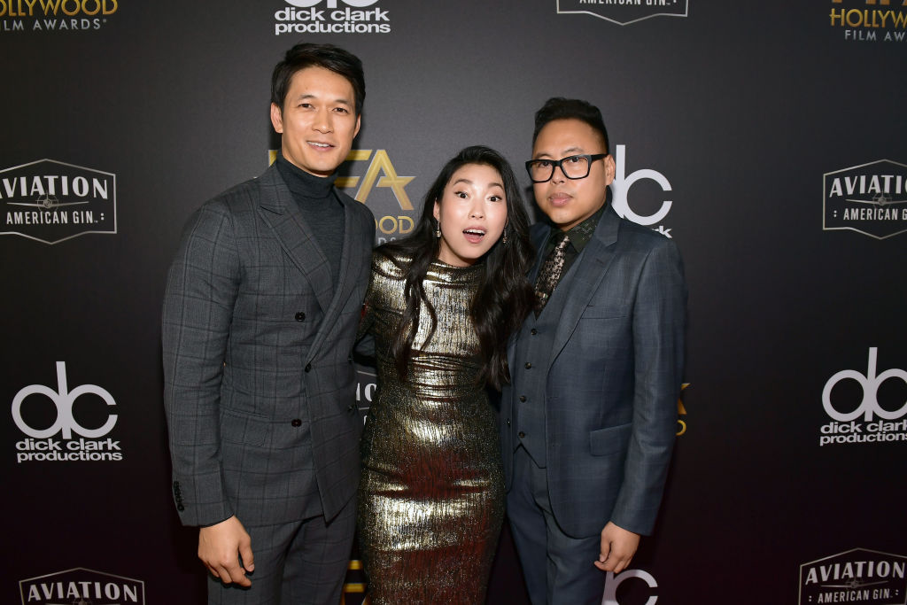 Harry Shum Jr., Awkwafina and Nico Santos attend the 22nd Annual Hollywood Film Awards at The Beverly Hilton Hotel