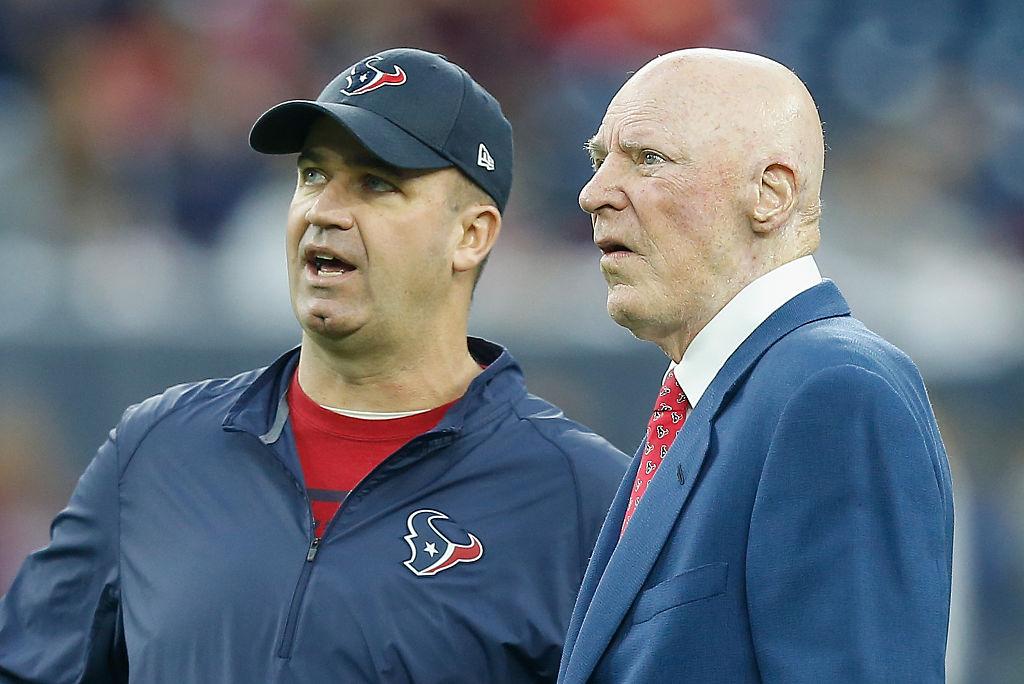 Bob McNair with Houston Texans coach Bill O'Brien in 2016.