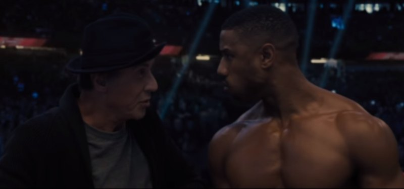 Sylvester Stallone and Michael B. Jordan in Creed II