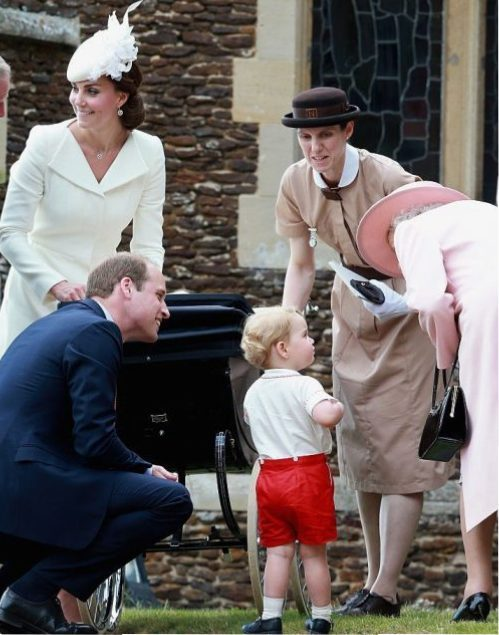 Kate Middleton, Prince William, Prince George, Maria Borrallo, and Queen Elizabeth II