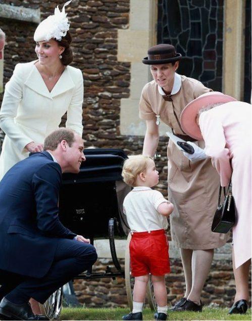 Kate Middleton, Prince William, Prince George, Maria Borrallo, and Queen Elizabeth II