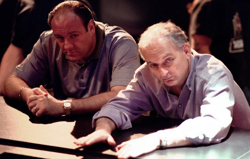 Actor James Gadolfini and 'Sopranos' creator David Chase seen on the set of the HBO show
