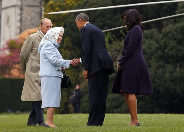 Barack Obama, Michelle Obama, Queen Elizabeth II, and Prince Philip