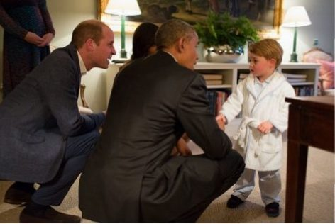 Prince George, Prince William, and Barack Obama
