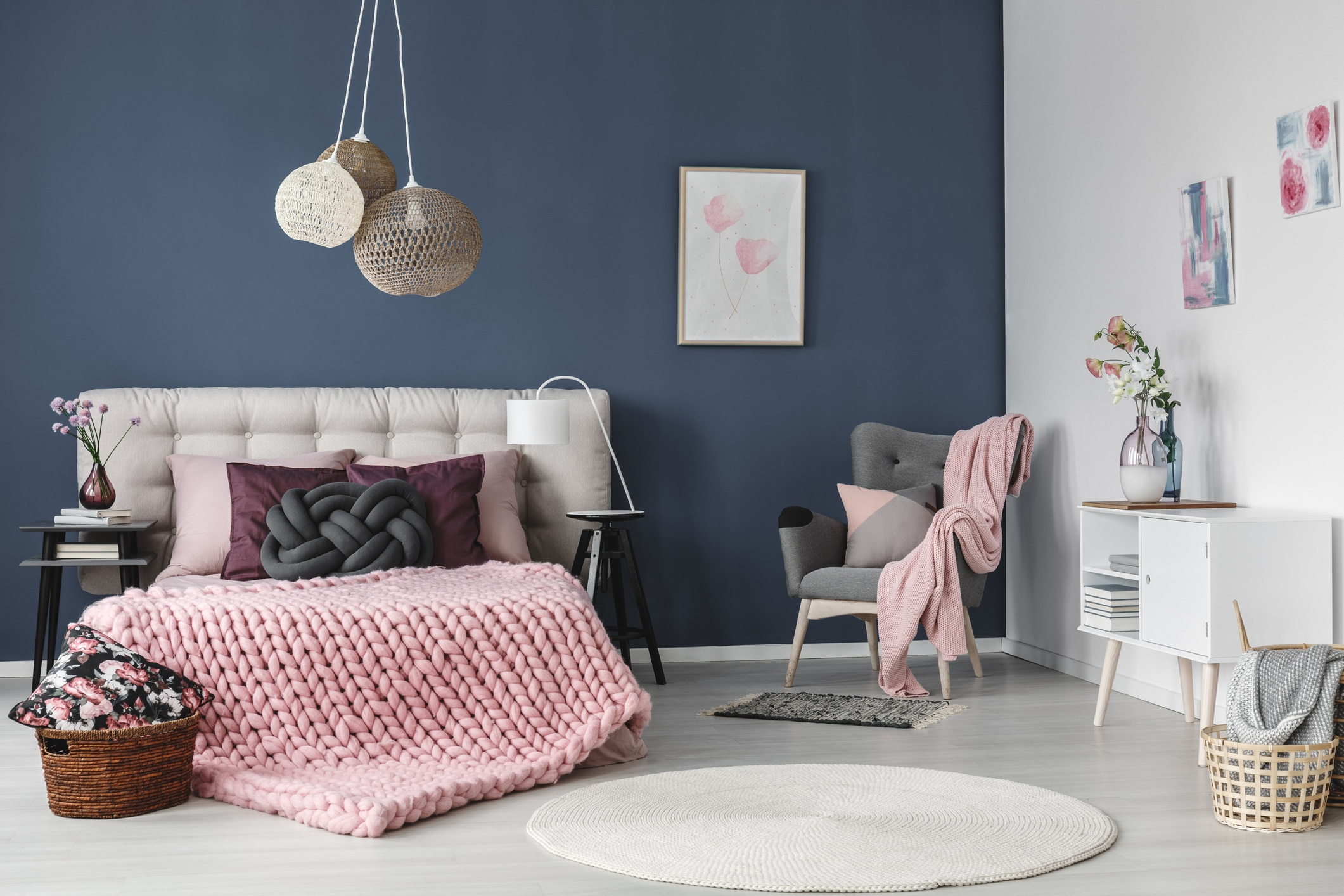 Millennial pink living room