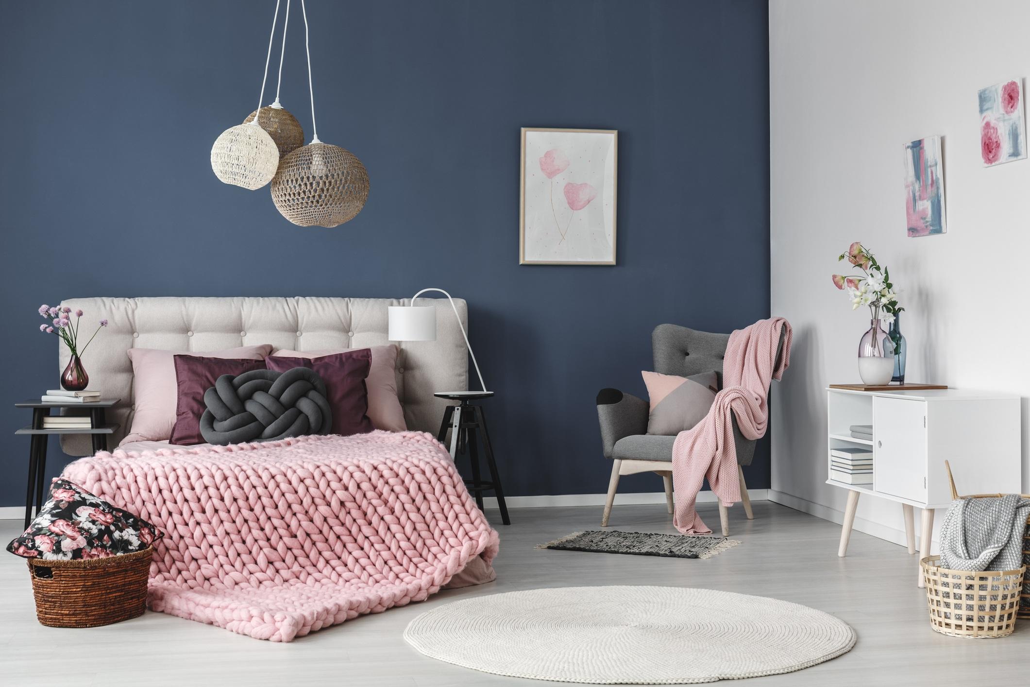 Millennial pink living room