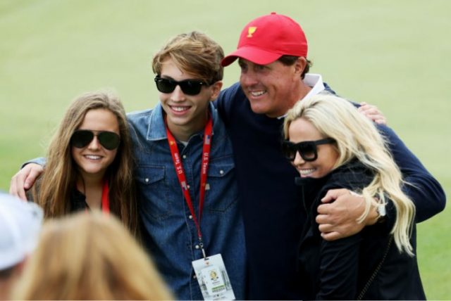 Phil Mickelson with wife Amy, son Evan, and daughter Sophia
