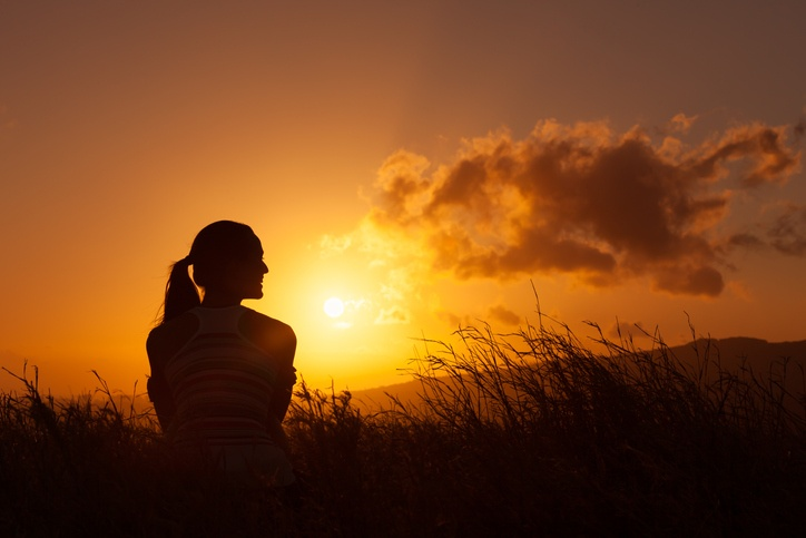 Woman during sunset