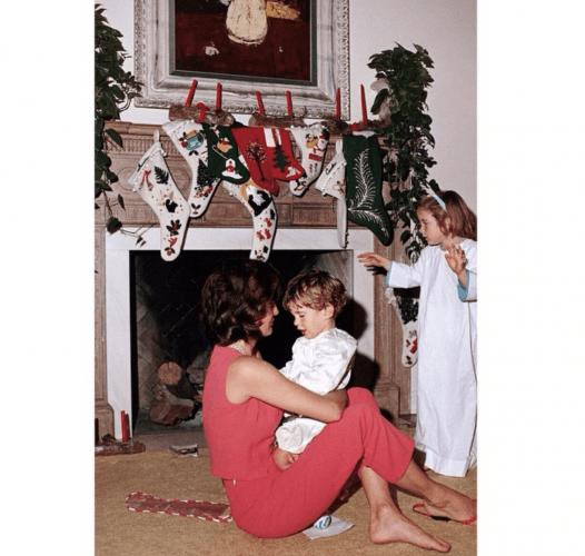 Jackie with Caroline and John Jr. December 25, 1962