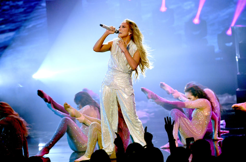 Jennifer Lopez performs onstage during the 2018 American Music Awards at Microsoft Theater