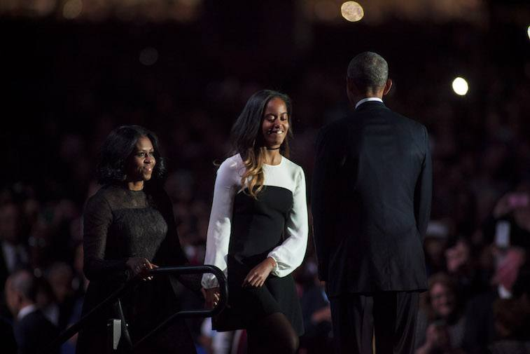 Barack Obama, Michelle Obama, and Malia Obama