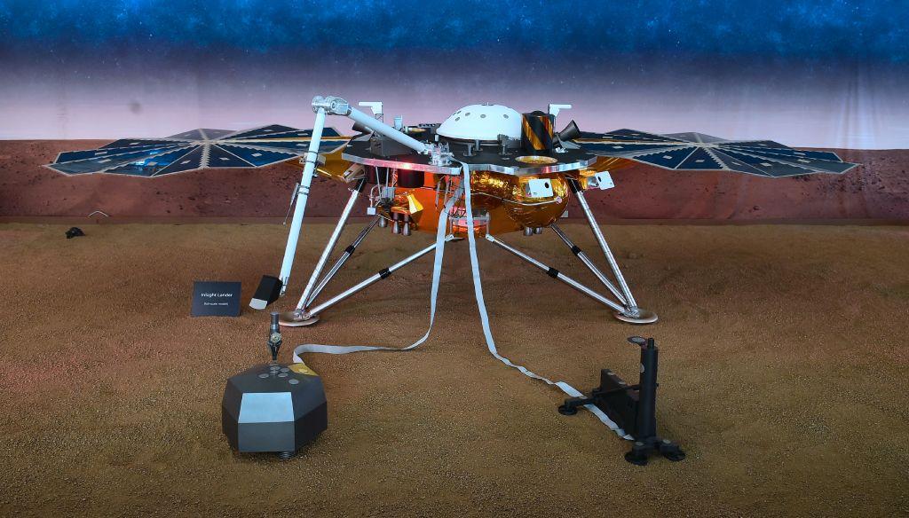 A replica of the probe used in NASA's Mars InSight landing in 2018.