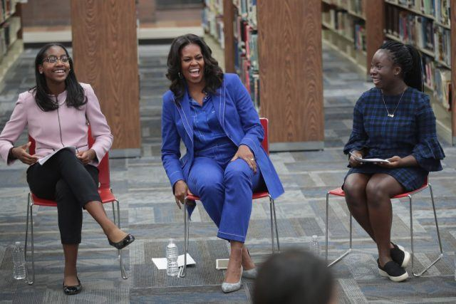 Michelle Obama chats with 20 high school senior girls