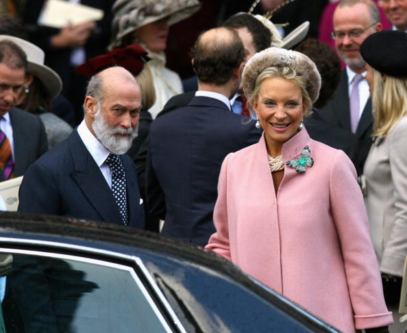 Princess Michael of Kent and Prince Michael of Kent leave HRH Queen Elizabeth II and Prince Phillip, The Duke of Edinburgh's 60th Diamond Wedding Anniversary royal