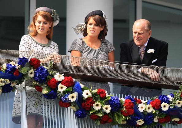 Princess Beatrice of York, Princess Eugenie of York and Prince Philip, Duke of Edinburgh