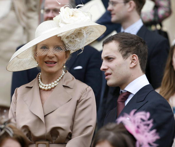 The Princess Michael of Kent and her son Freddie leave the service in St George's Chapel, 23 April 2006