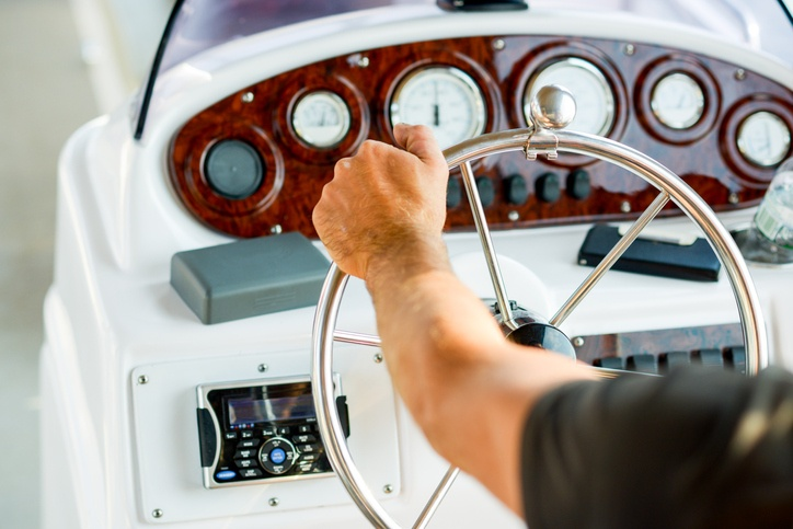 Captain at the wheel