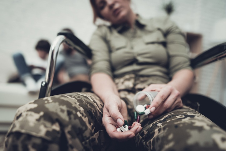 Depressed veteran with pills
