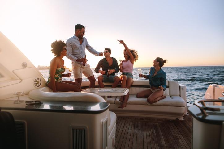 Passengers on a yacht