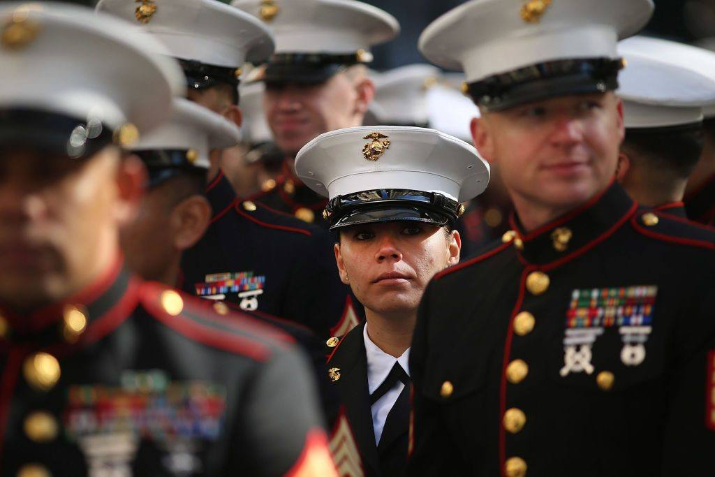 Marines at Veterans Day Parade Held On New York's 5th Avenue