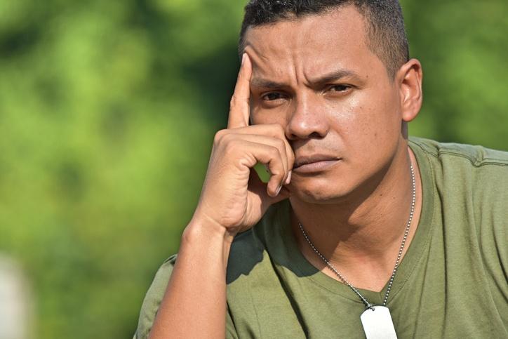 Contemplative military veteran