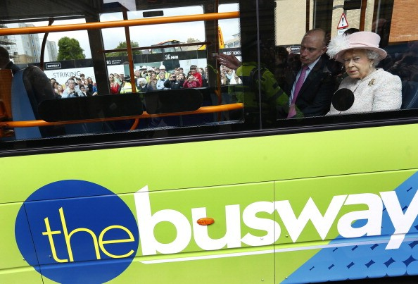 Queen Elizabeth II travels on a Cambridgeshire Guided Bus on route