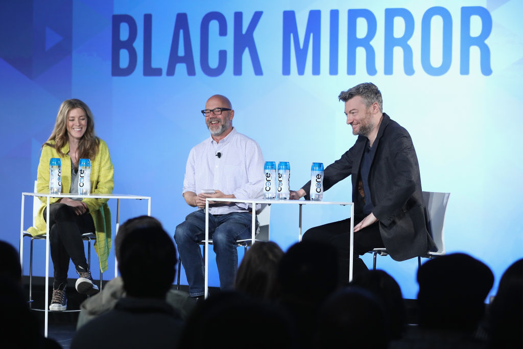 Creator Annabel Jones, editor Andrew Sullivan and creator Charlie Booker of the Netflix show 'Black Mirror'