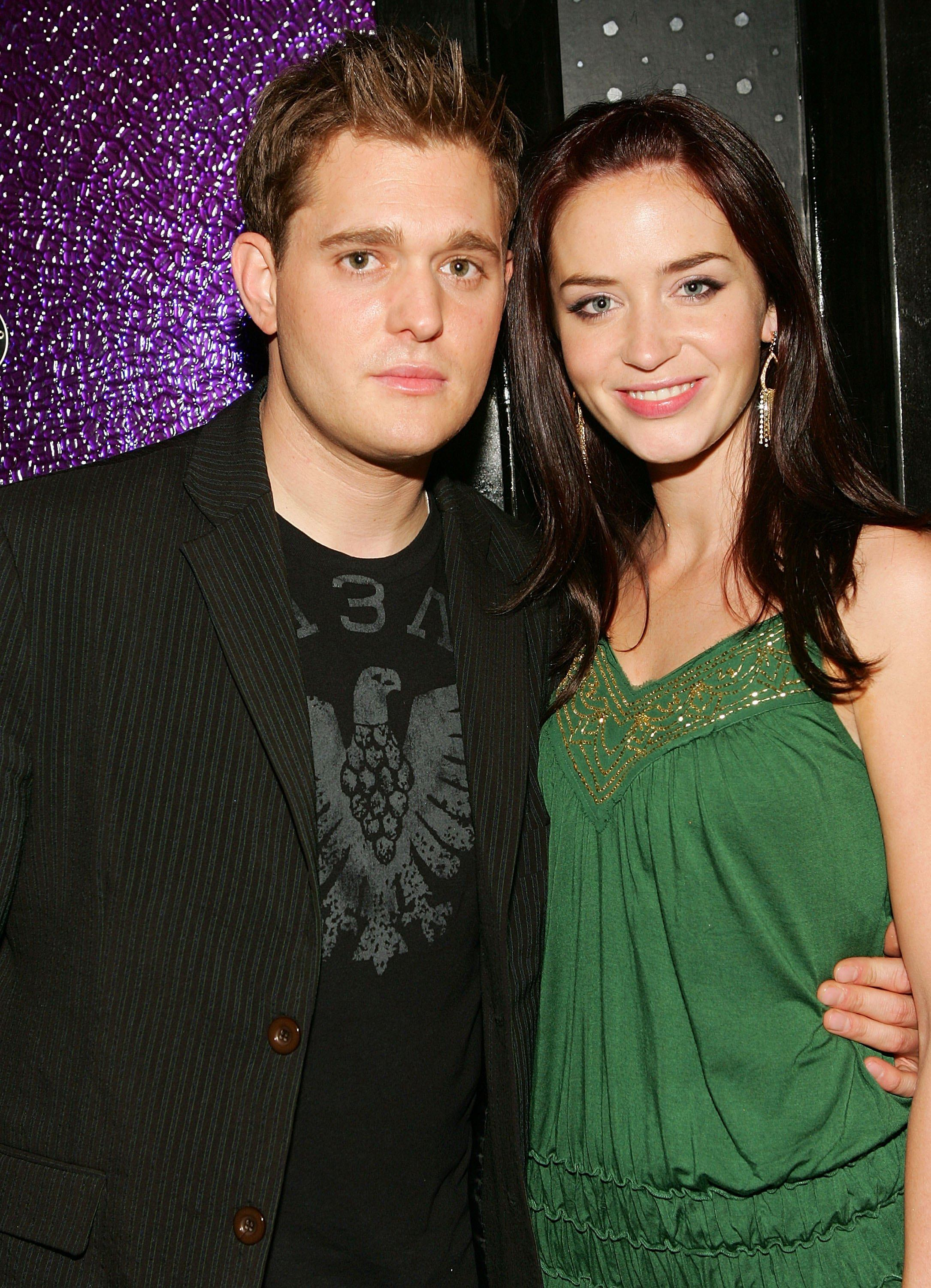 """Singer Michael Buble and actress Emily Blunt attend """"The Devil Wears Prada"""" premiere after party at 230 Fifth June 19, 2006 in New York City."""