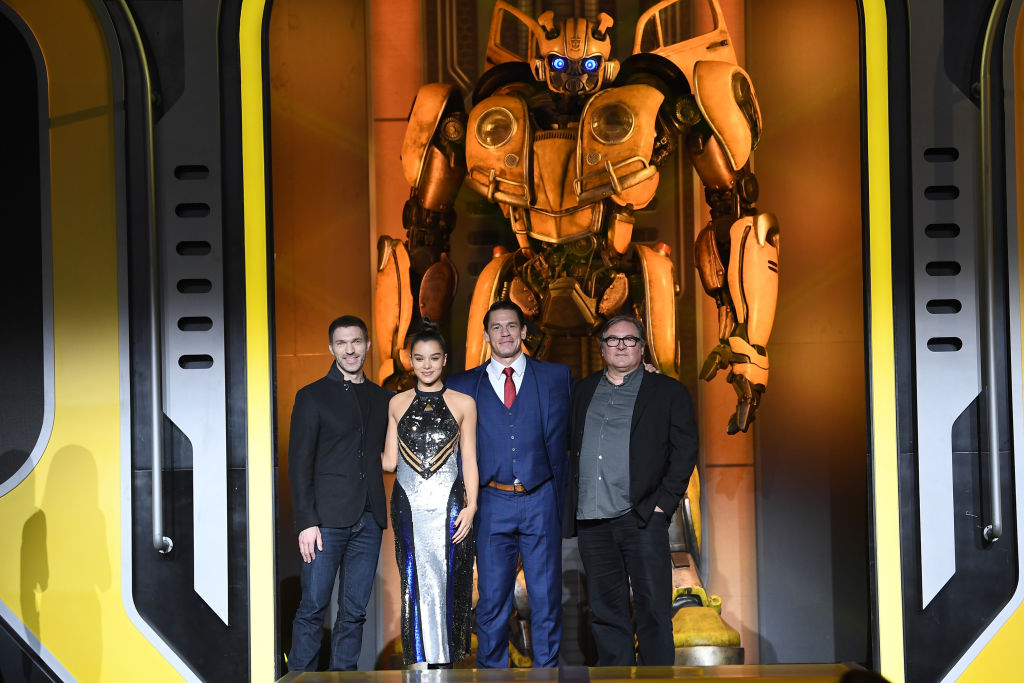 (L-R)Travis Knight, Hailee Steinfeld, John Cena, Lorenzo di Bonaventura attend Paramount Pictures' Beijing press conference for 'Bumblebee' on December 14, 2018 in Beijing, China.