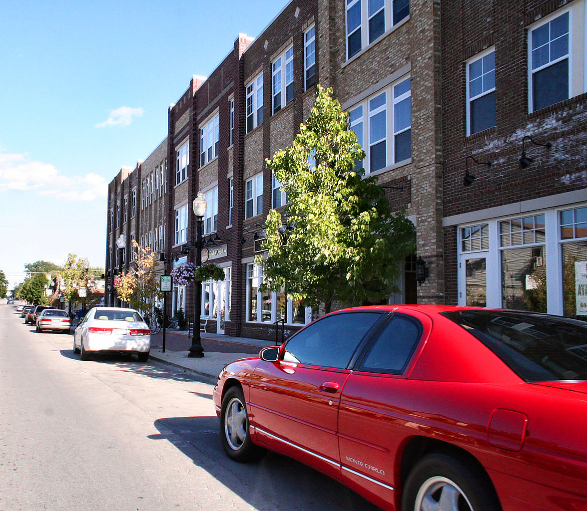 Cars parked on the street in Carmel, Indiana.